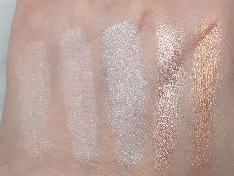 Notoriously Morbid Power of the Fae - Harlequin - Osteomancy - Ofra You Glow Girl - You Dew You highlighters swatches