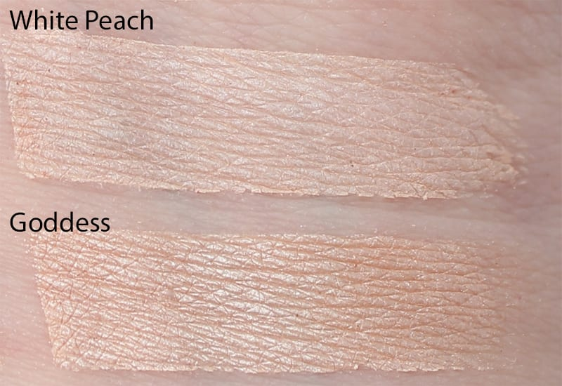 Silk Naturals Goddess dupe for Too Faced White Peach and Urban Decay Venus swatch