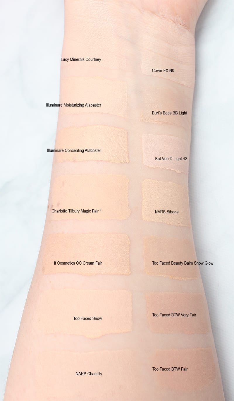 Cruelty Free Pale Foundation Swatches