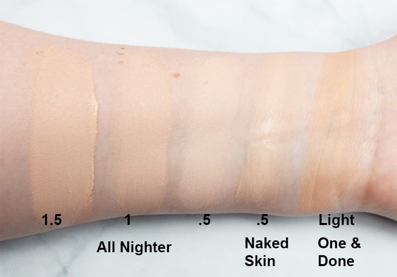 Urban Decay All Nighter Foundation Swatches