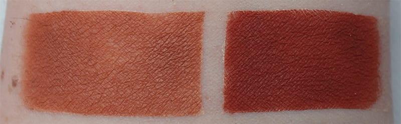 Anastasia Burnt Orange, Realgar swatches