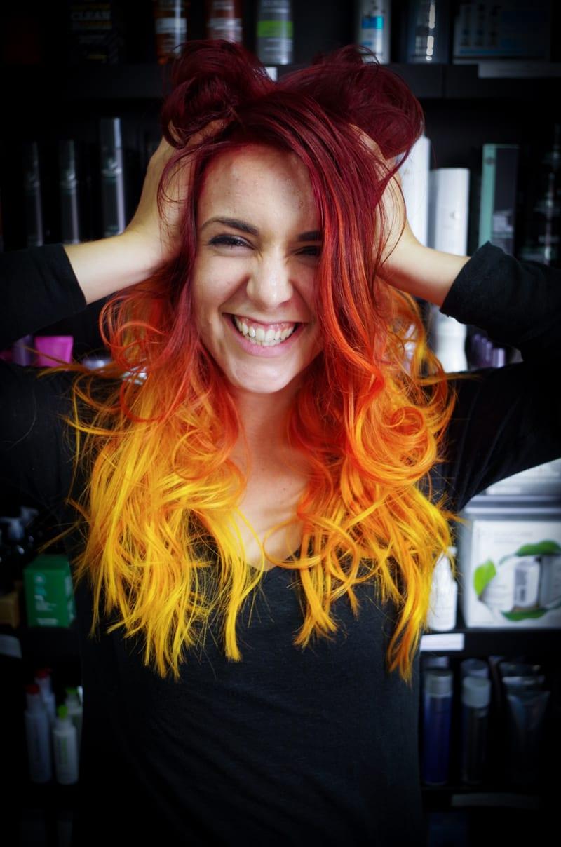 Rainbow Hair Color Ideas with Christian - Fiery Red