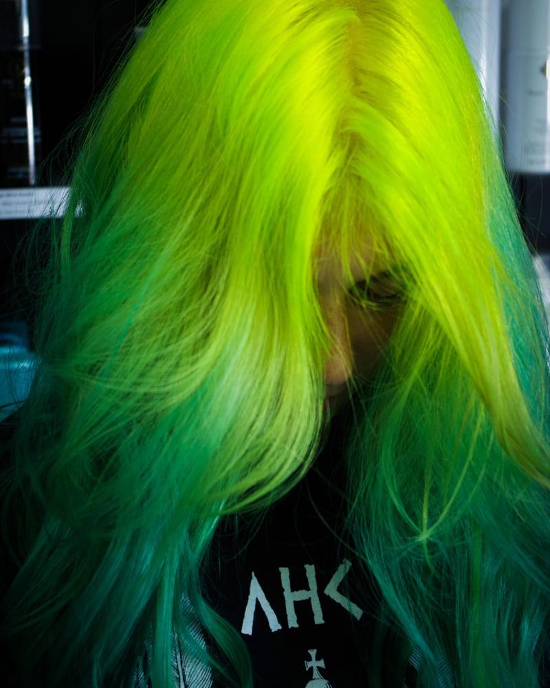 Rainbow Hair Color Ideas with Christian - Lime Green