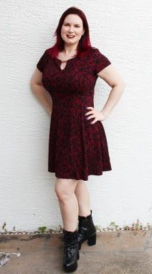 Alyx Keyhole Jacquard Fit and Flare Dress