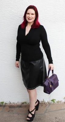 Worthington Faux Leather Eyelet Hem Skirt