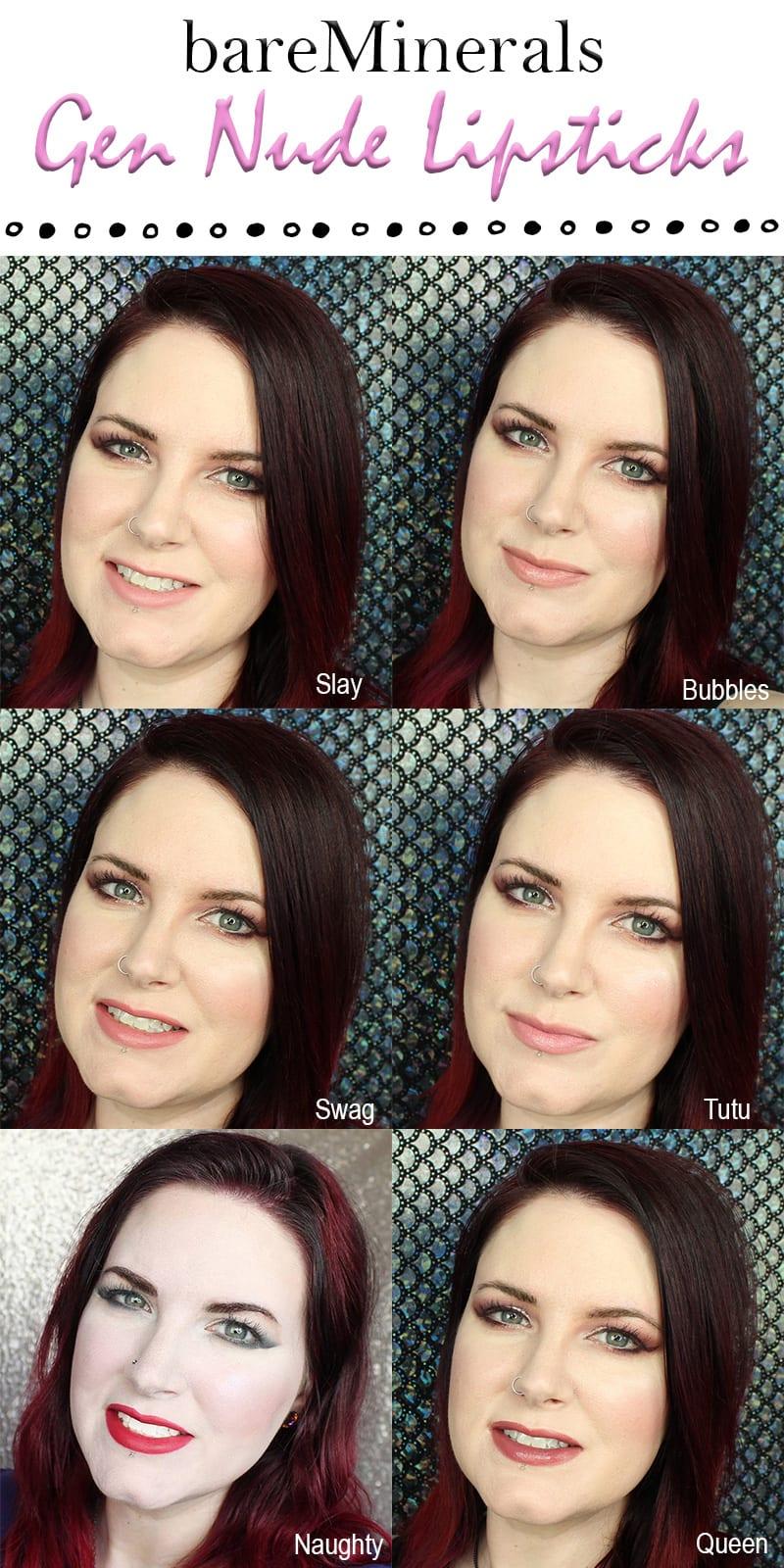 bareMinerals Gen Nude Lipsticks Review Swatches Looks