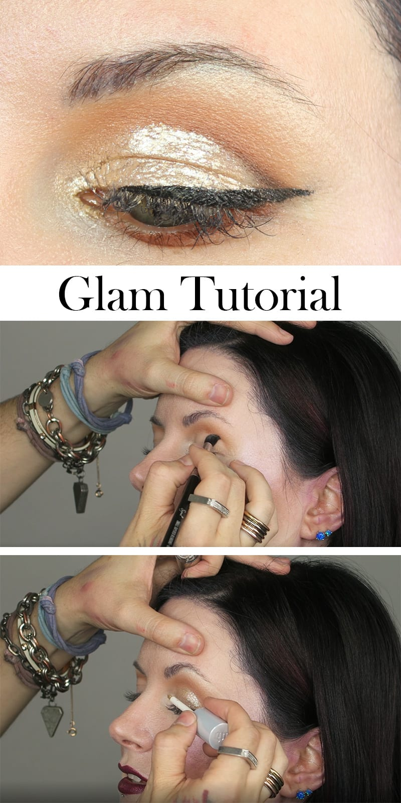 Glam Glitter Cut Crease Winged Liner Tutorial for Hooded Eyes with Mickey the talented former Urban Decay Makeup Artist.
