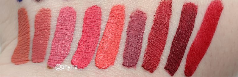 Makeup Geek Plush Lip Mattes Swatches - Beach Bunny - Soccer Mom - Goodie Two-Shoes - Chatterbox - Smarty Pants - Marriage Material - Plain Jane - Boss Lady - Beauty Queen