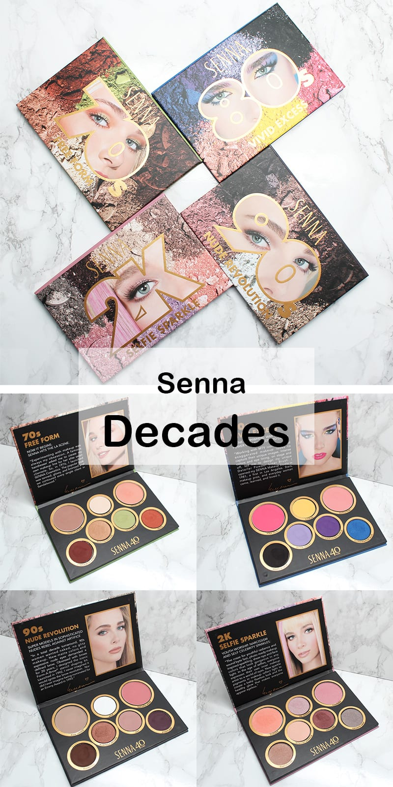 Senna Cosmetics Decades Collection Review Swatches