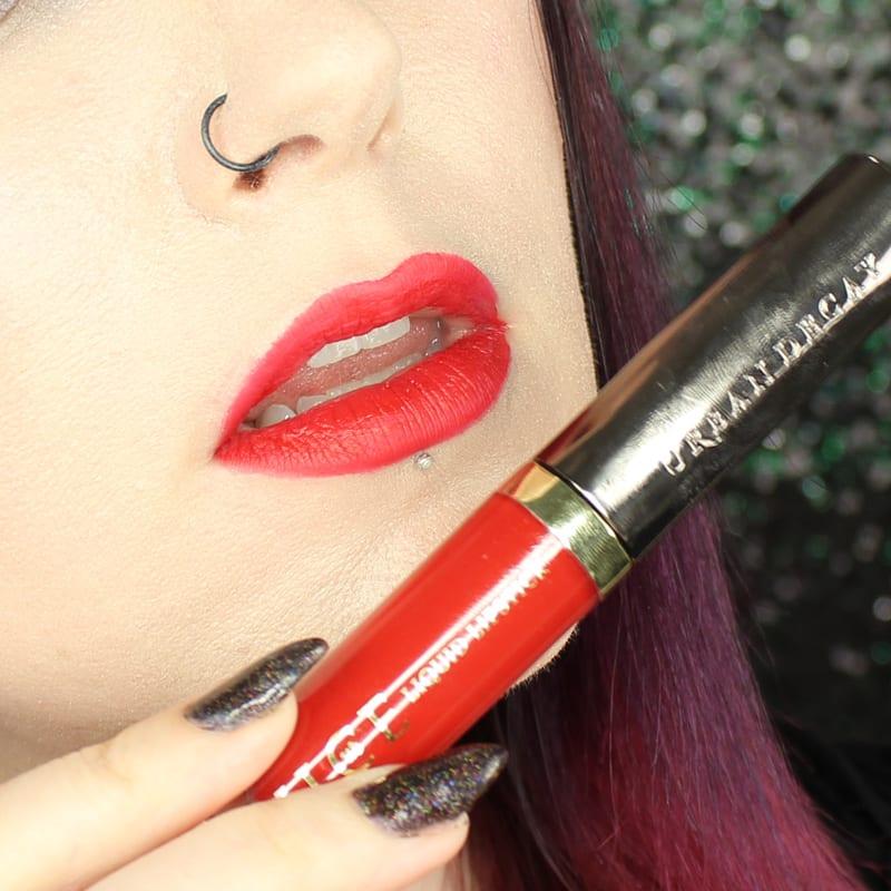 Urban Decay Vice Lipstick 714 swatch on pale skin