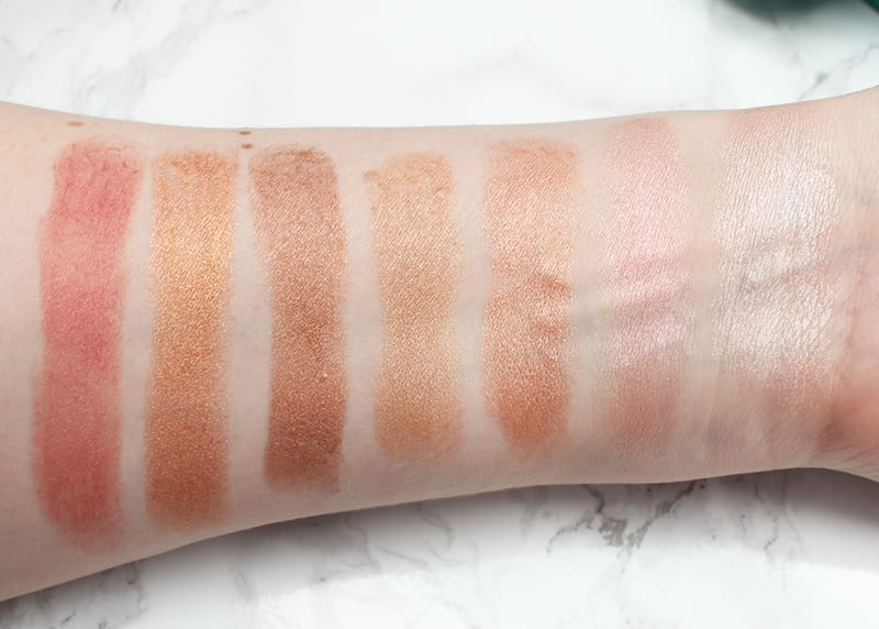 Cover FX Enhance Click Highlighter Sticks swatched on pale skin - Celestial - Blossom - Rose Gold - Gold Dust - Gilded - Candle Light - Berry