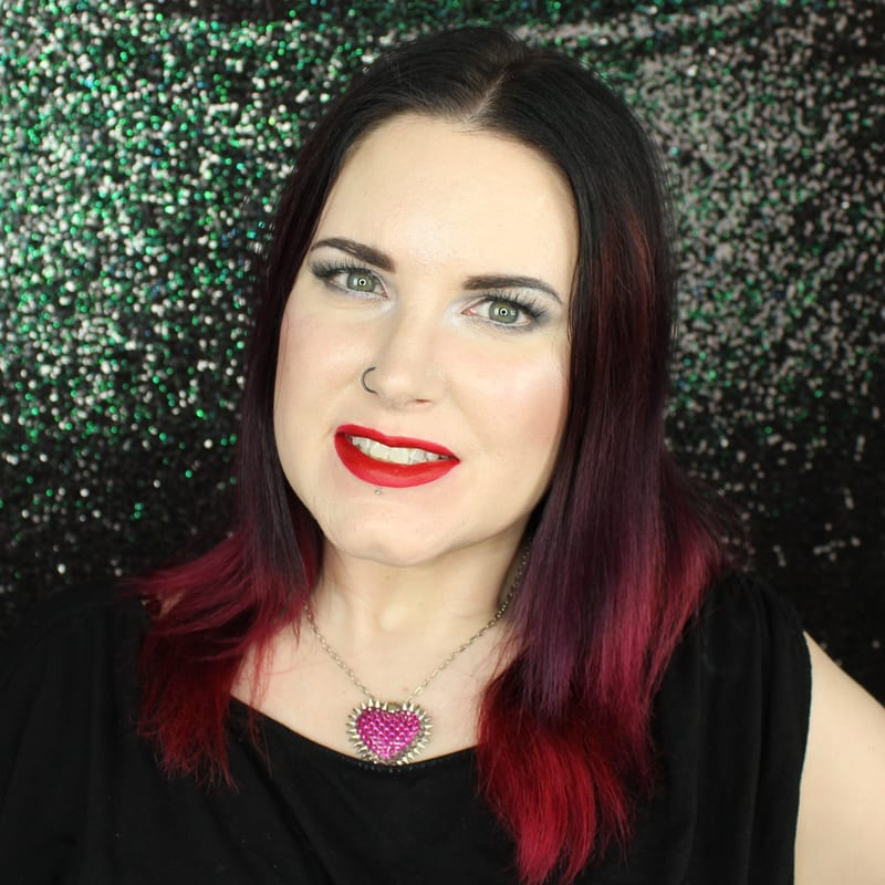Urban Decay Vice Lipstick Crimson swatch on pale skin