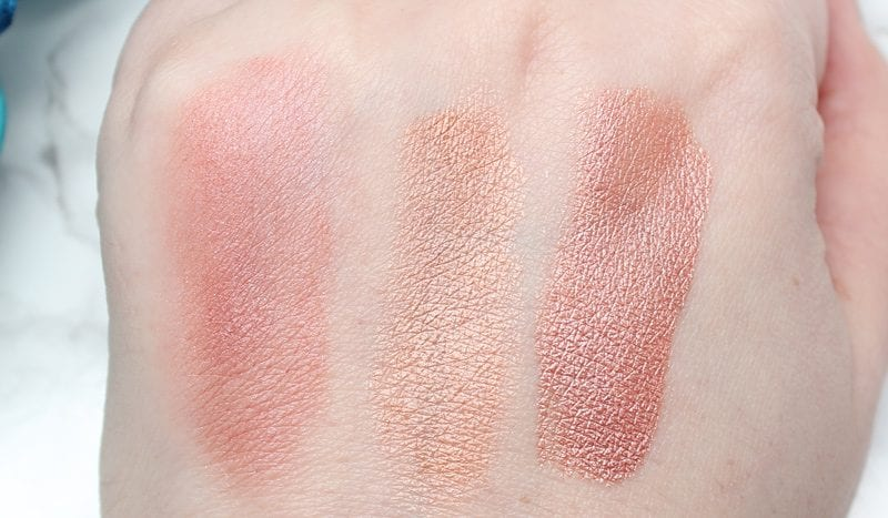 Best Rose Gold Eyeshadows, Lipsticks and Blush - Georgie Rose Gold, Cover FX Rose Gold, Ofra Versailles swatches