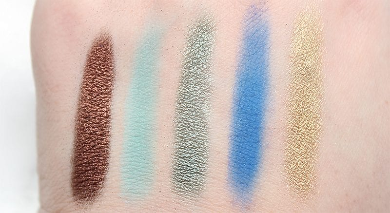 Urban Decay Spring 2017 Eyeshadow Singles - Thunderbird, Narcotic, C-Note, Chaos, Blitz swatches