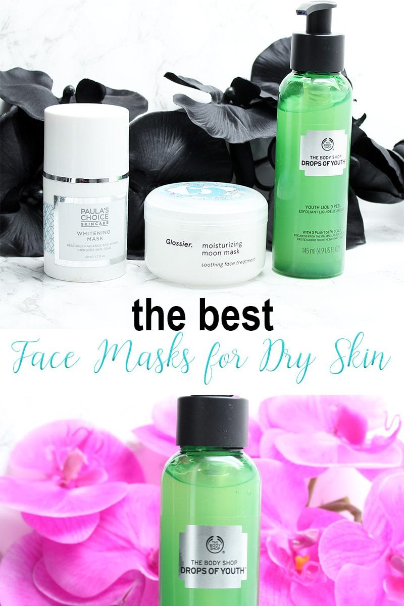 Best Face Masks for Dry Skin. Ever wonder what type of masks to use for dry, sensitive skin? I have 3 of the best options - Glossier Moisturizing Moon Mask, The Body Shop Drops of Youth Liquid Peel and Paula's Choice Radiance Renewal Mask. You can brighten, peel off dry flaky patches and then soak up the moisture for a beautiful complexion.