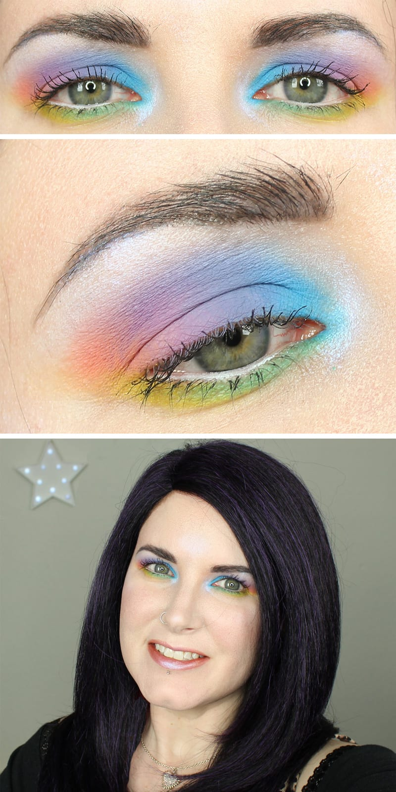 I've got a fun Kat Von D Pastel Goth Rainbow Makeup Tutorial for you. It's hooded eye friendly, of course. It would be perfect for a Pride parade or any time you wanted bright rainbow eyes. I had so much fun putting together this kawaii pastel goth makeup tutorial.