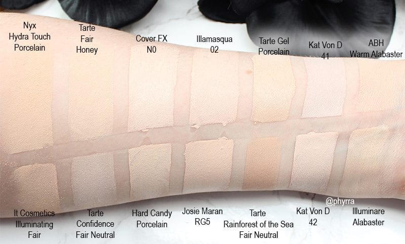 The Best Pale and Fair Foundation swatches that are cruelty free