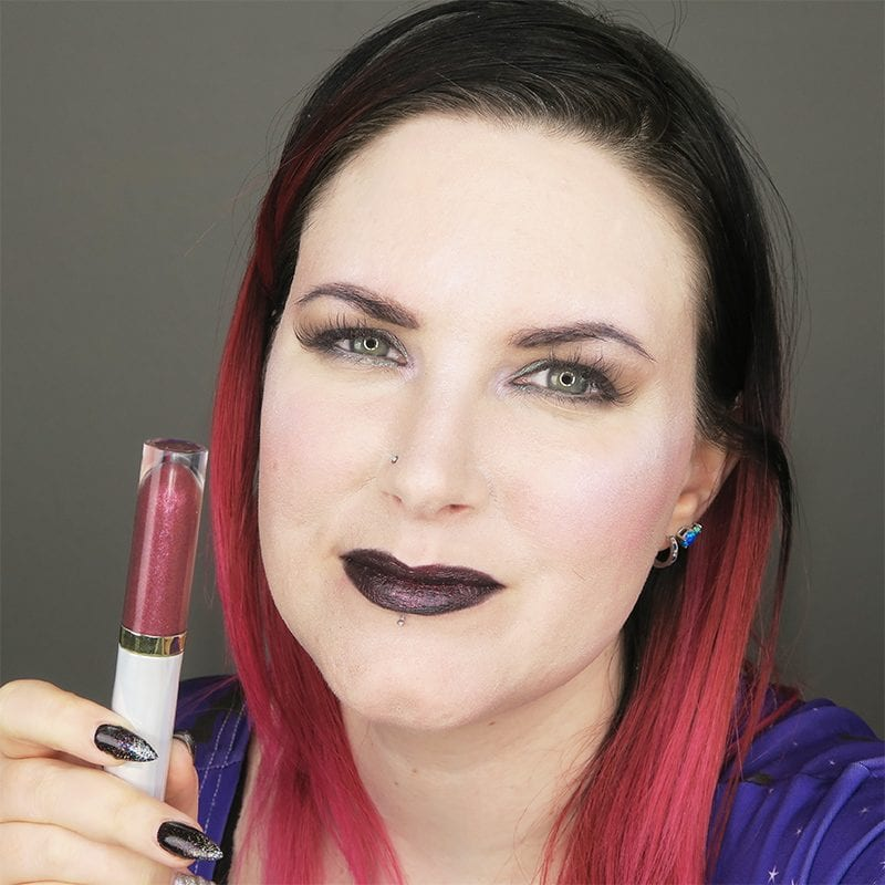 Urban Decay Vice Special Effects Lipstick Topcoat in Bruja on top of Perversion Vice lipstick
