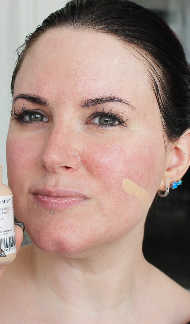 Glossier Perfecting Skin Tint in Light swatch