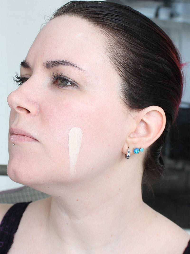 Kat Von D Lock-It Foundation in L41 Neutral (with Nyx Pro Opalescent) swatch