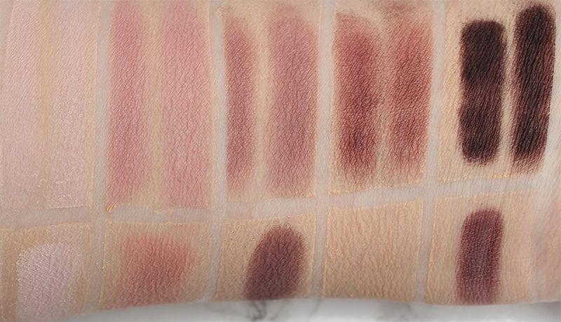 Dose of Colors Marvelous Mauves Comparison to the Kat Von D Plum Quad Swatches on Pale Skin