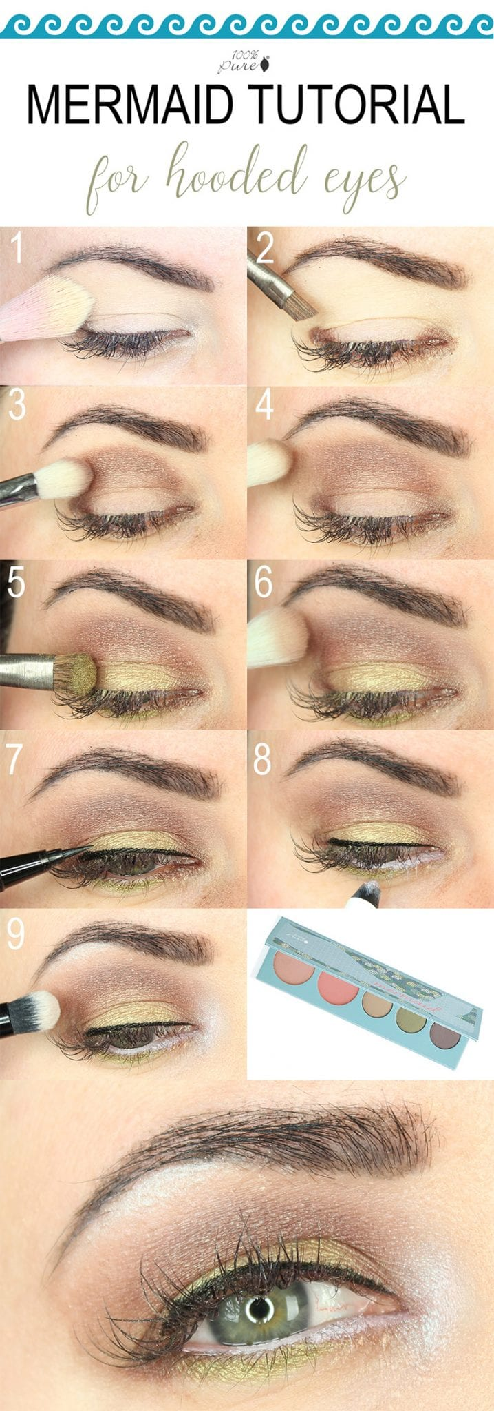 I created an easy makeup tutorial with the 100% Pure Mermaid duochrome palette. This tutorial is great for hooded eyes and can also work for monolids and downturned eyes. It's a flattering neutral look with a twist! The soft golden green and plum brown are flattering on so many different eye colors.