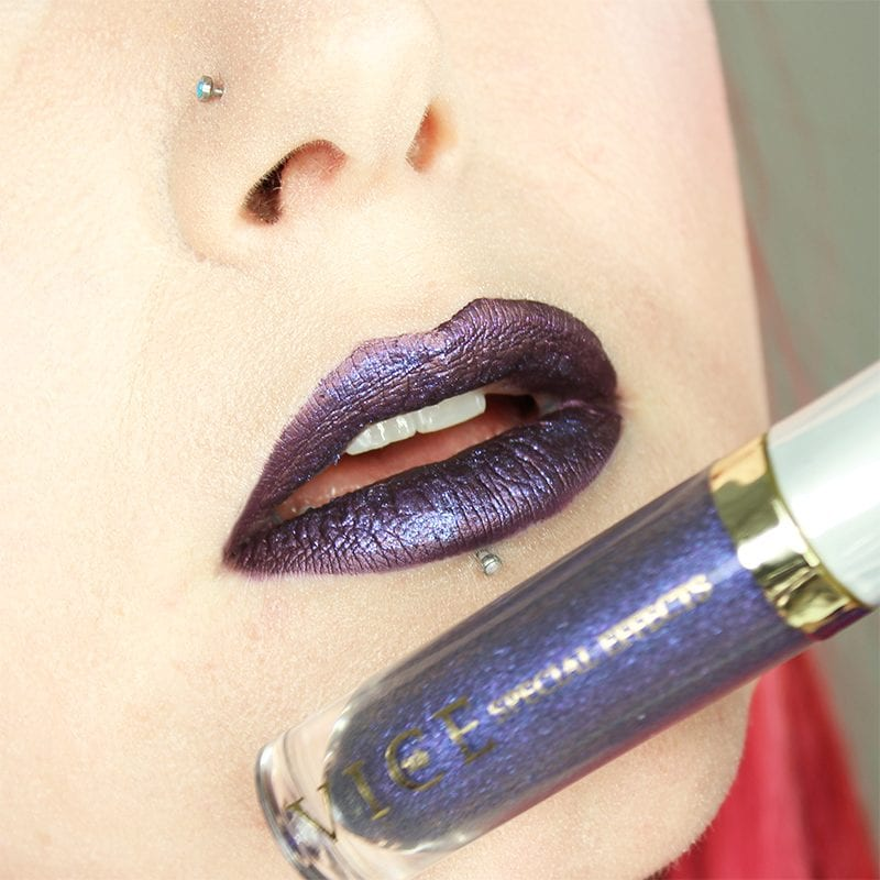 Urban Decay Vice Special Effects Lipstick Topcoat in Monarchy on top of Ofra Napa Valley