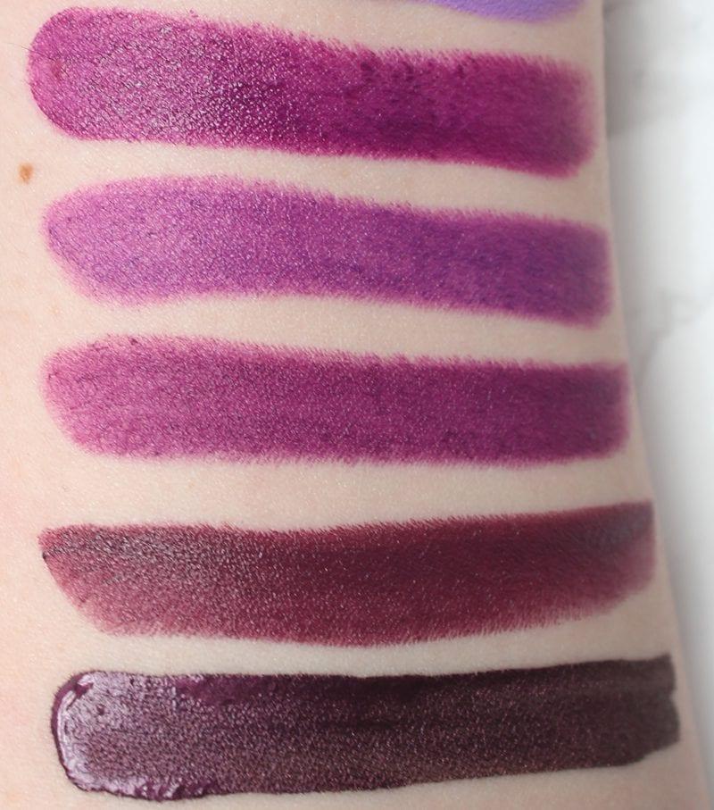 Best Purple Eyeshadows, Lipsticks and Blush - Purple Lipstick Swatches 2