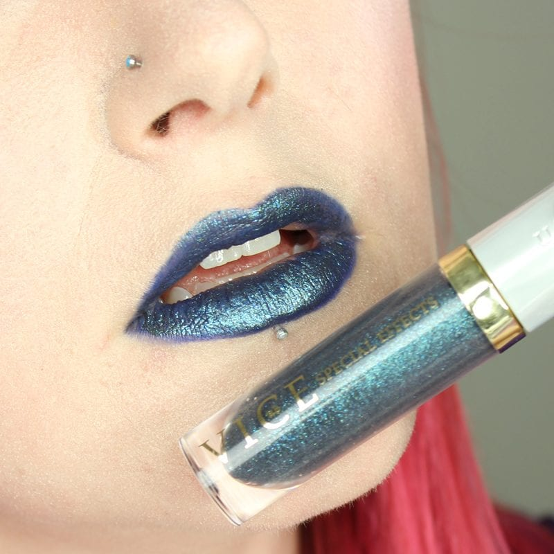 Urban Decay Vice Special Effects Lipstick Topcoat in Ritual on top of Heroine Vice lipstick