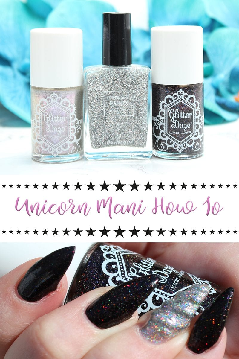 Unicorn Mani How To Tutorial. Have you ever wanted a magical unicorn horn manicure? I'm sharing my Unicorn Mani How To guide with you today. Now, you don't have to take it to the extreme like I do and get hard gel nails that are pointy enough to carve out a man's heart. You can rock the Unicorn Mani with just two polishes.