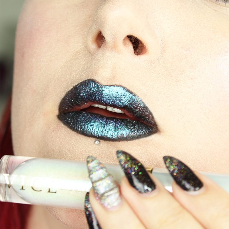 Urban Decay Vice Special Effects Lipstick Topcoat in Ritual and White Lie on top of Perversion Vice lipstick