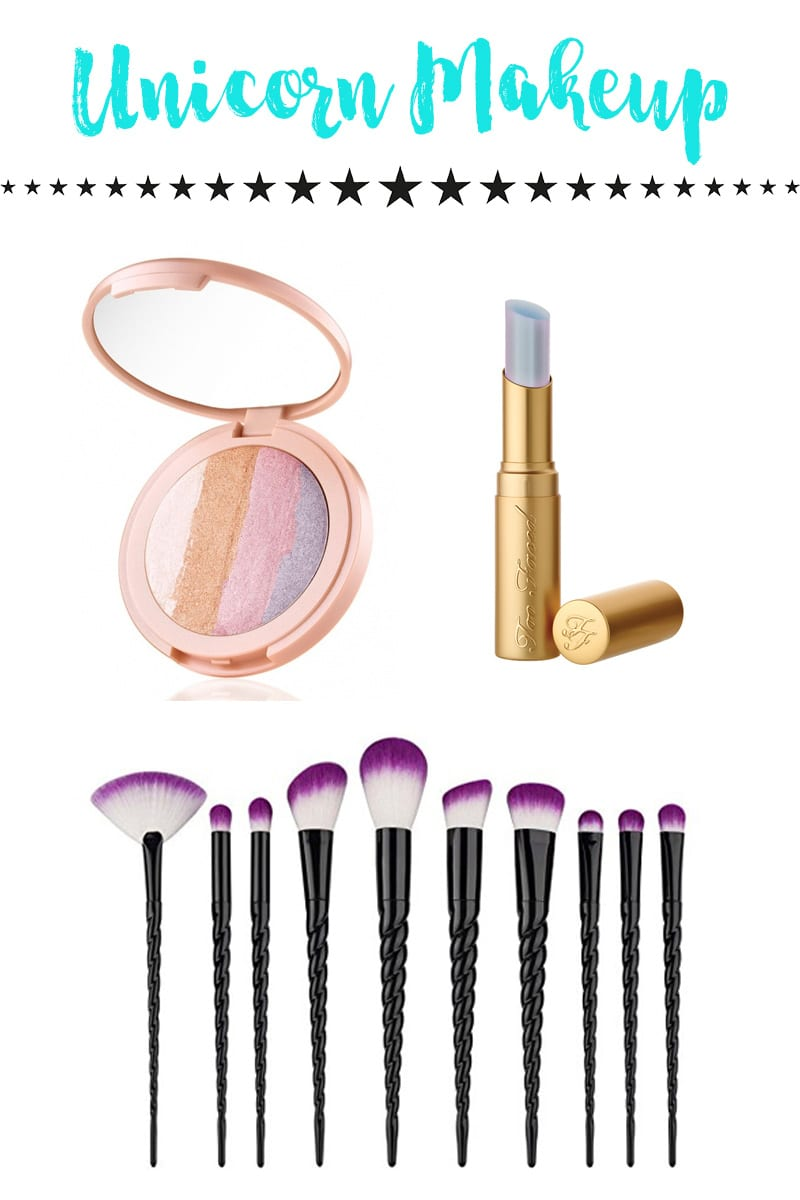 Unicorns have seen a resurgence lately and I love it. Today I'm bringing you Unicorn Makeup Brushes and Makeup. I found 6 different unicorn makeup brush sets, 18 unicorn makeup inspired items, and 3 unicorn makeup bags.