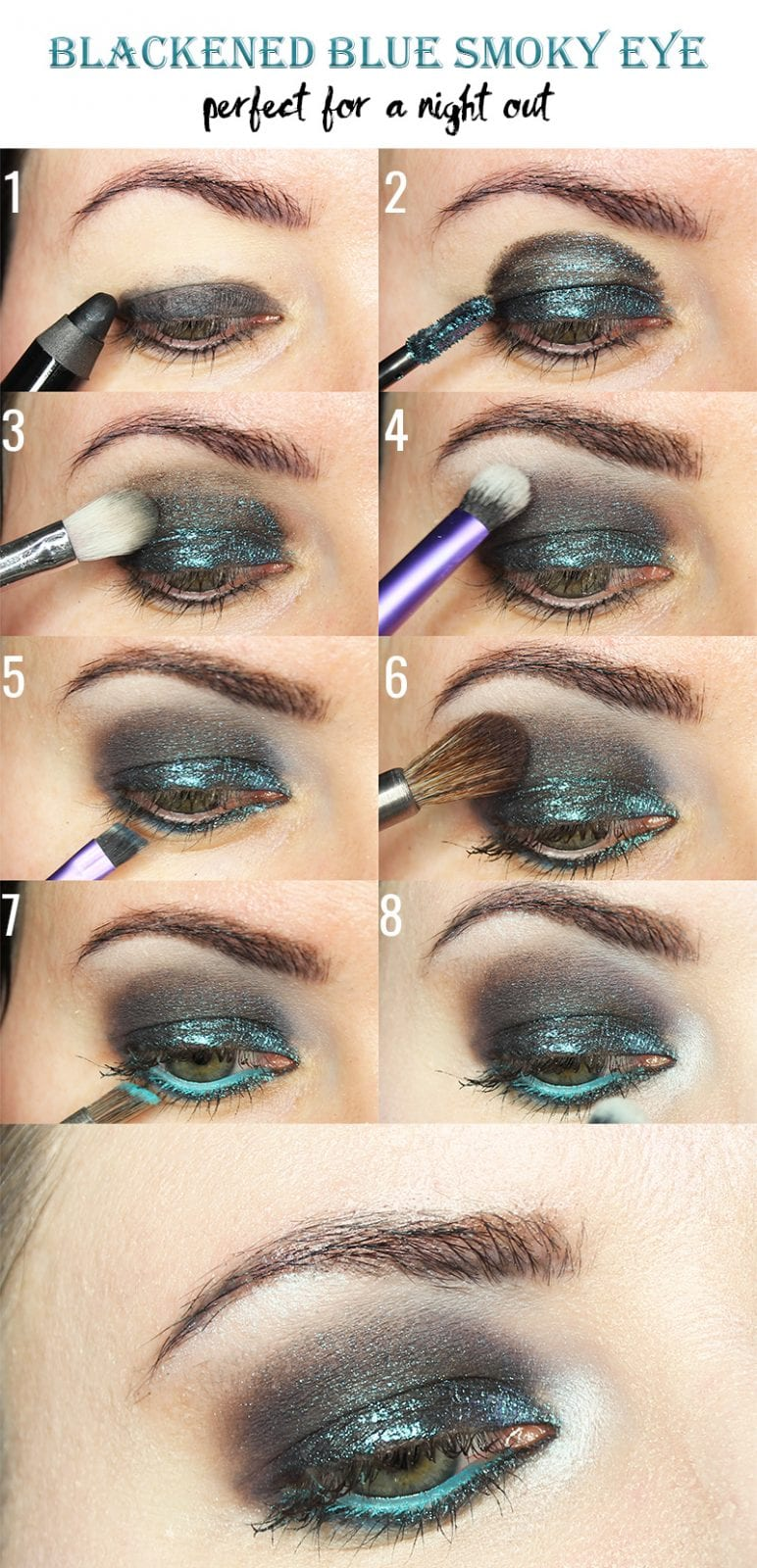 I'm sharing a blackened blue smokey eyes tutorial for hooded eyes. I'm using Black Moon Asteroid as the main eyeshadow for this look. I haven't done a Teal Thursday in forever, so I thought you'd enjoy this. This smokey eyes eyeshadow tutorial will show you a quick way to create a smokey look even if you don't have a liquid eyeshadow like Asteroid. You can always substitute any dark sparkly eyeshadow in your favorite color in its place.