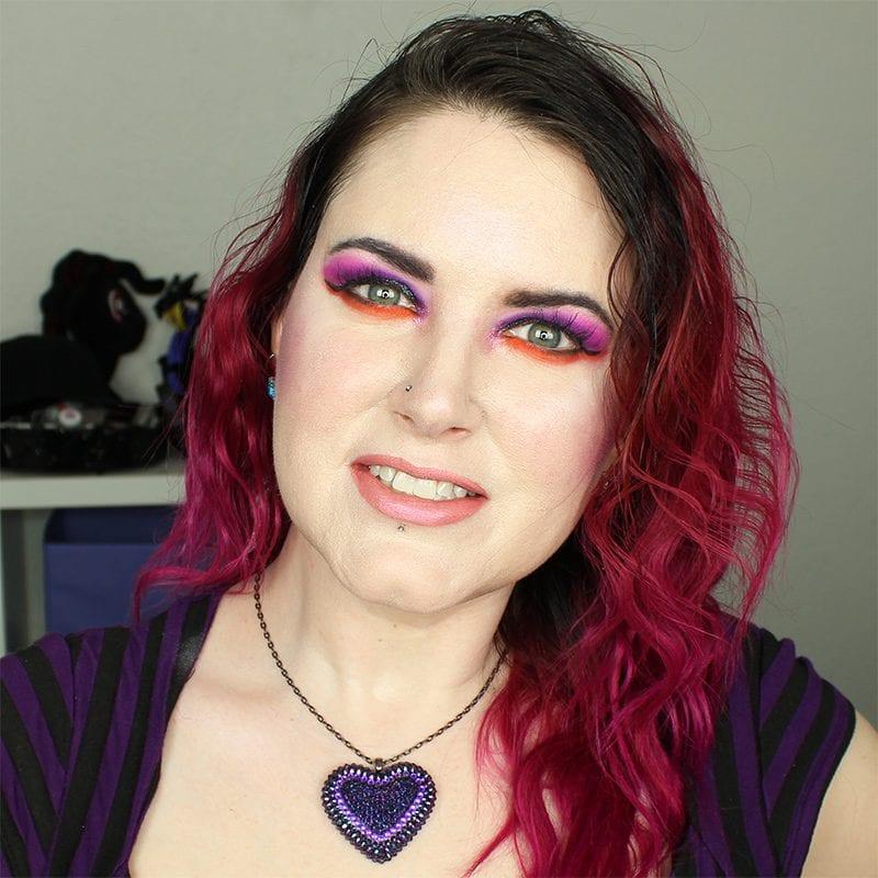 Wearing Kat Von D OG Lolita pencil, Muñeca liquid lipstick, and Alchemist Opal with orange and purple eyes