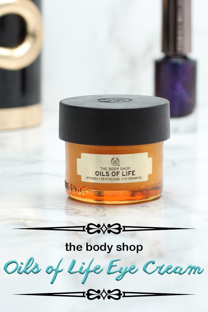 A while ago I had the opportunity to try The Body Shop Oils of Life Eye Cream. This eye cream claims it will help to reduce the appearance of dark circles and wrinkles, help your eye contour to look smoother, and make your eyes look more radiant.