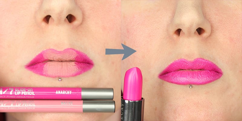 Contour Your Lips. No seriously though, hear me out. Use a darker lip pencil to outline your lips. Then fill in the center of your lips with a much lighter lip pencil. Then put on your lipstick. It will create a multi-dimensional lip look that makes your lips look fuller.