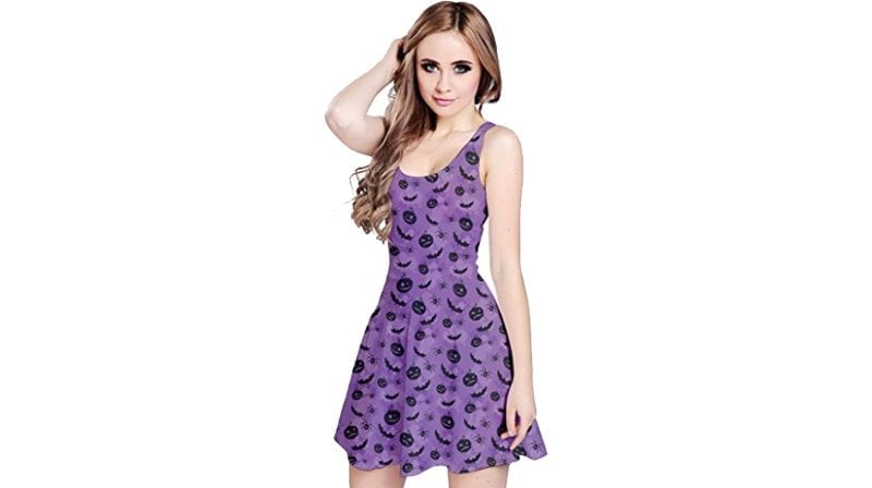 CowCow Womens Halloween Horror Pumpkin Bats Ghost Witch Eyeball Sleeveless Dress
