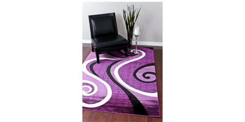 Purple Abstract Area Rug