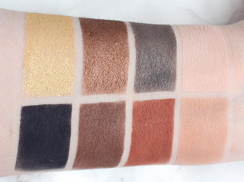 Urban Decay Basquiat Gold Griot Palette Swatches on Pale Skin