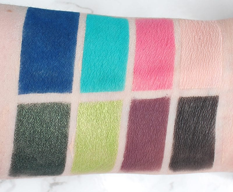 Urban Decay Basquiat Tenant Palette Swatches on Pale Skin