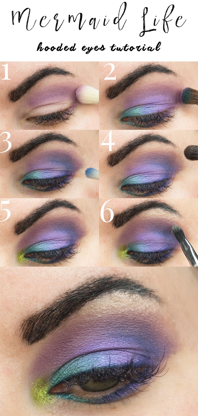Saucebox Mermaid Life Cruelty-Free Tutorial - This is a colorful purple makeup look with the Mermaid Life palette. Great for hooded eyes!
