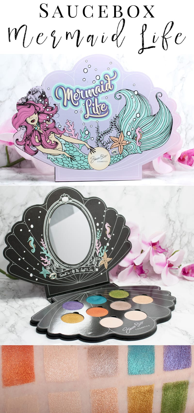 Saucebox Mermaid Life Palette. The best eyeshadow palette with 9 stunning eyeshadows! It has duochromes and foil finish colors. It's 100% vegan, proudly made in the USA and eco-friendly.