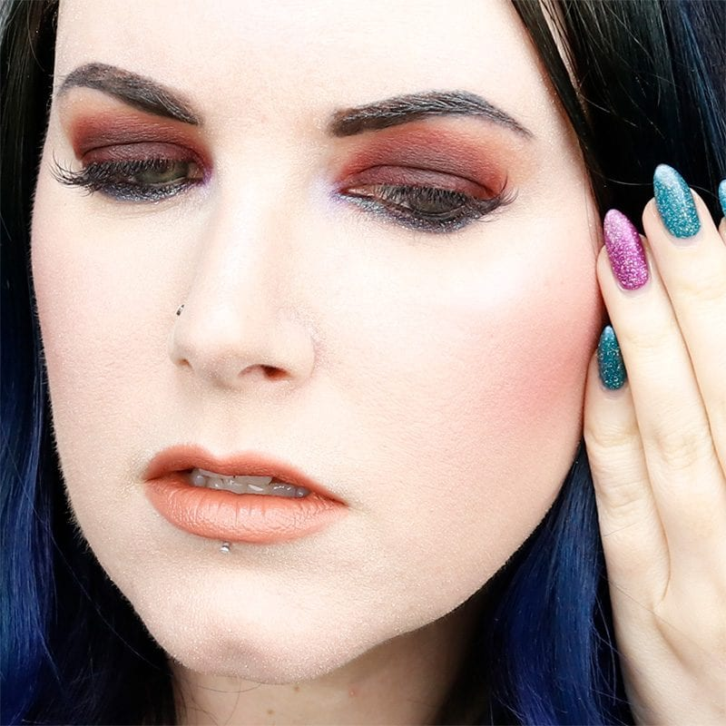 Urban Decay Naked Heat Alkaline Tutorial with KBShimmer No Wave and Berry Chill on my nails