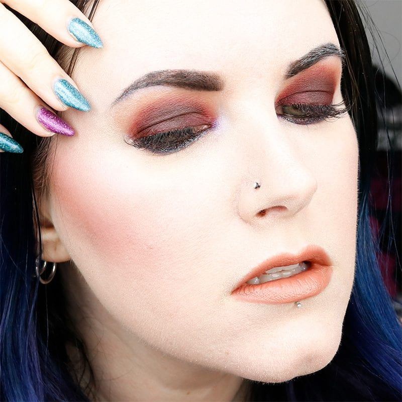 Urban Decay Naked Heat Alkaline Tutorial with Aura (blue side) as highlight