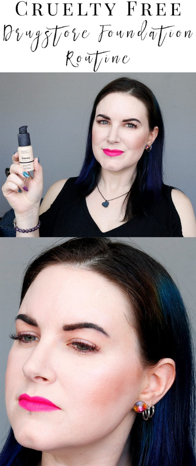 I'm sharing my cruelty free drugstore foundation routine featuring Milani, Nyx and the Ordinary. It's perfect for my pale skin. I have dry skin issues, so I'm glad that I figured out this combination for my skin type. It works for me in hot humid climates and hot dry climates, lasting 14 or more hours.