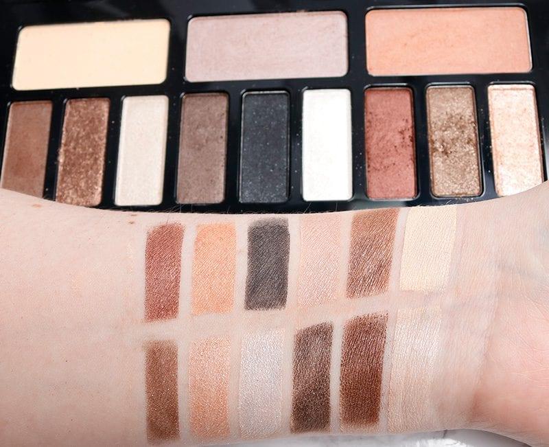 Kat Von D Shade + Light Glimmer Eye palette swatches on pale skin