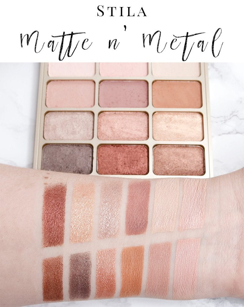 Stila Matte n' Metal Eye Palette Review and Swatches on pale skin. This is a gorgeous pinky metallic palette.