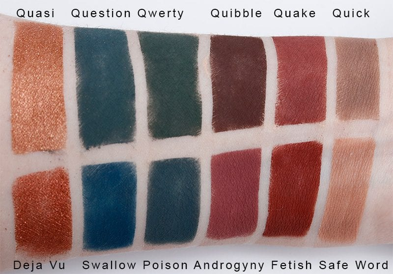 Silk Naturals Avant-Garde Palette dupes for Jeffree Star Androgyny palette swatches