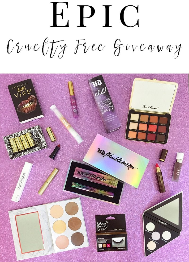 Epic Cruelty Free Giveaway - Ends Oct. 23, 2017. Don't miss out on this amazing prize package #giveaway #makeup #win #crueltyfree