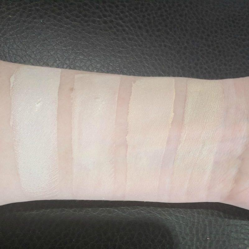 Comparison swatches of Huda Beauty Milkshake to Kat Von D L41, Idun Minerals Jorunn and NARS Siberia